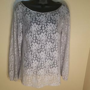 Laundry Gray Sheer Floral Long Sleeved Blouse